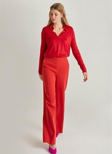 NGSTYLE Bol Paça Beli Lastikli Pantolon Kırmızı